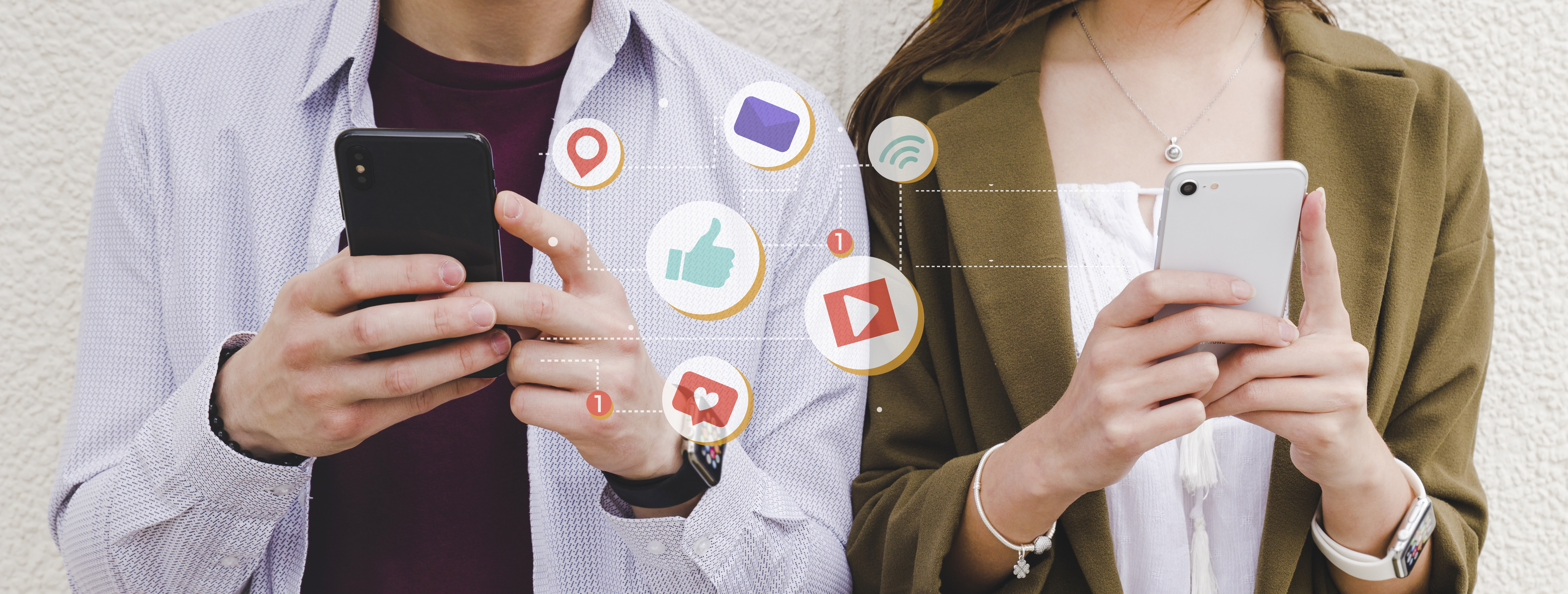 mobile-notification-icons-between-man-and-woman-using-cell-phone